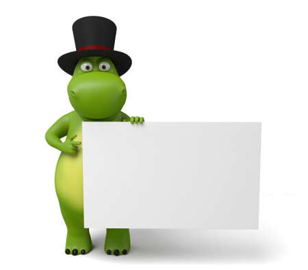 placard: The 3d hippo and a placard Stock Photo