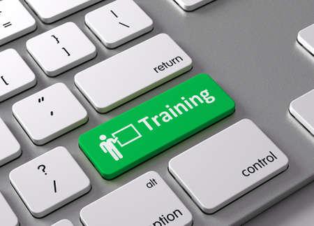 Een toetsenbord met een groene knop-training Stockfoto