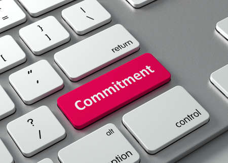 promise: A keyboard with a red button-Commitment