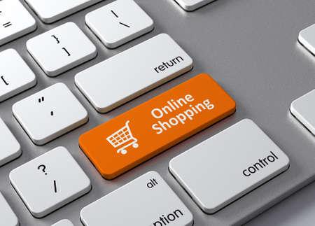 Een toetsenbord met een oranje button-Online winkelen