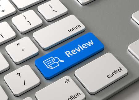 Een toetsenbord met een blauwe knop-Review Stockfoto