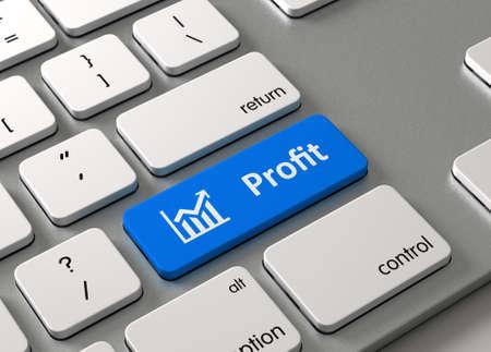 behalf: A keyboard with a blue button-Profit