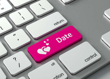 romantic: A keyboard with a pink button-Date