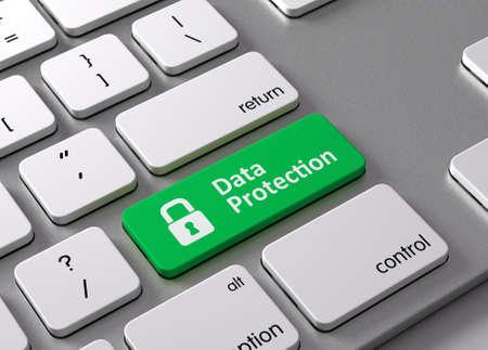 Een toetsenbord met een groene knop-Data Protection
