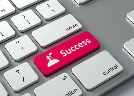 Een toetsenbord met een rode knop - Succes