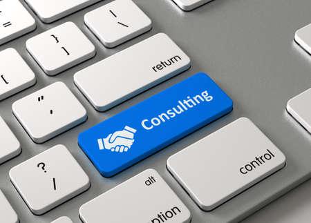 Een toetsenbord met een blauwe knop-Consulting