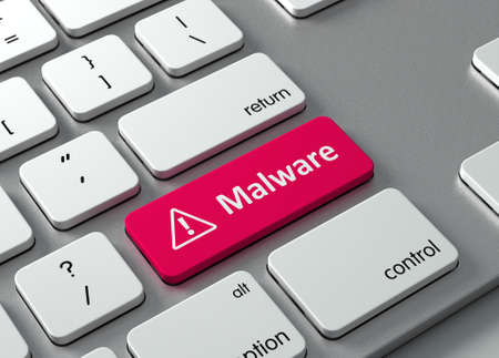 laptop: A keyboard with a red button-Malware Stock Photo