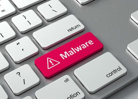 teclado: Un teclado con un bot�n rojo-Malware Foto de archivo