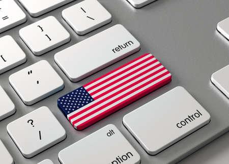 Een toetsenbord met een knop-VS.