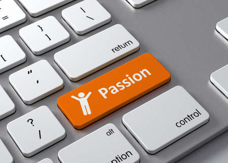 info button: A keyboard with a orange button-Passion Stock Photo