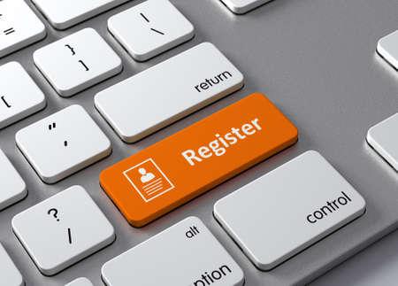 Een toetsenbord met een oranje knop-Register Stockfoto