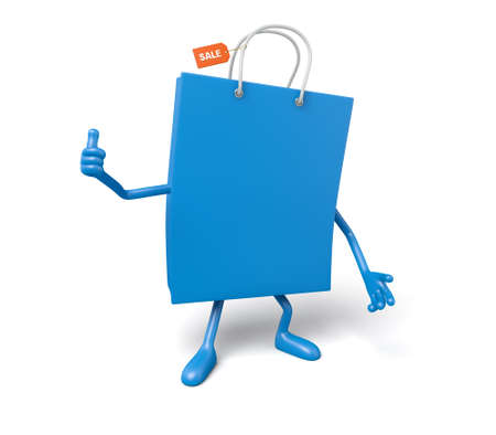 retail sales: A blue shopping bag in the character position