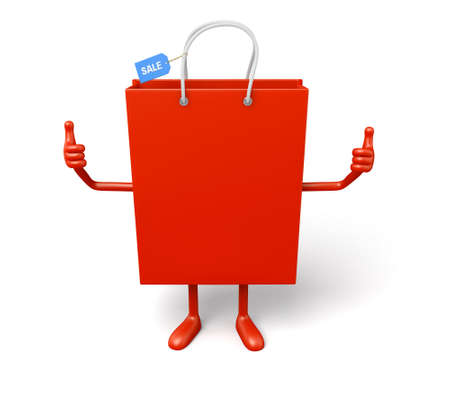 retail sales: A red shopping bag in the character position Stock Photo
