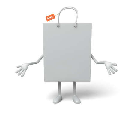 retail sales: A white shopping bag in the character position Stock Photo