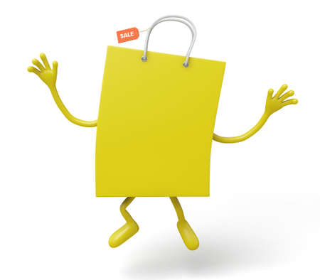 retail sales: A yellow shopping bag in the character position