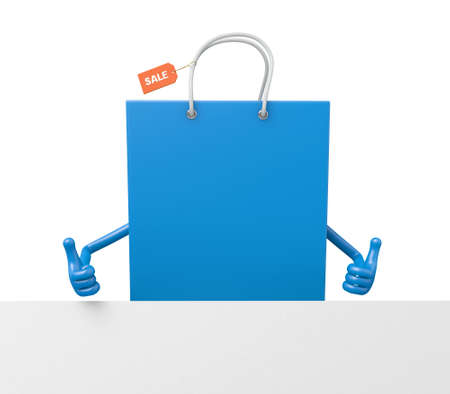 placard: A blue shopping bag with a white placard Stock Photo