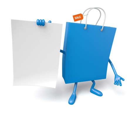 A blue shopping bag with a white paper Stock Photo
