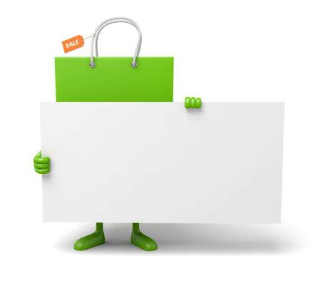 흰색 현수막 녹색 쇼핑 가방