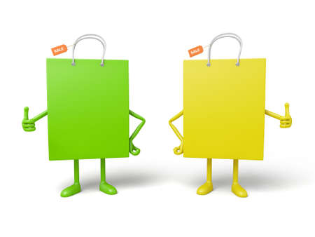Two shopping bags pose together Stock Photo
