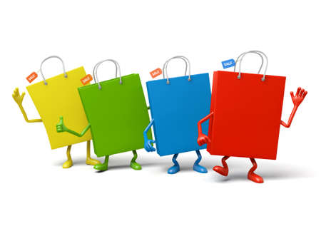 Four shopping bags pose together Stock Photo - 48324130