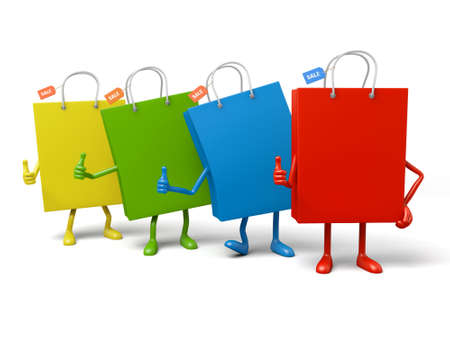 uniting: Four shopping bags pose together