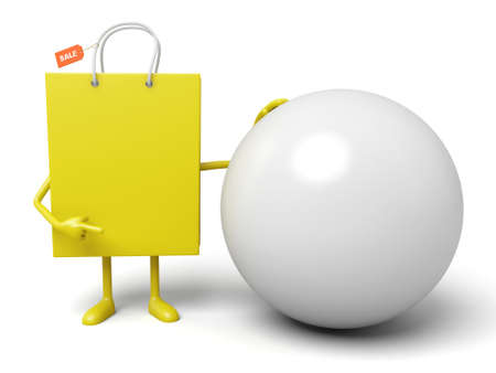 A yellow shopping bag and a ball