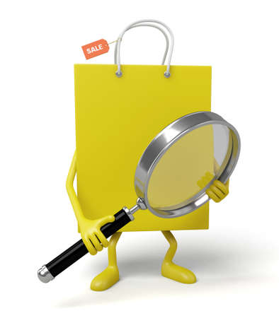 A yellow shopping bags looking at things with a magnifying glass