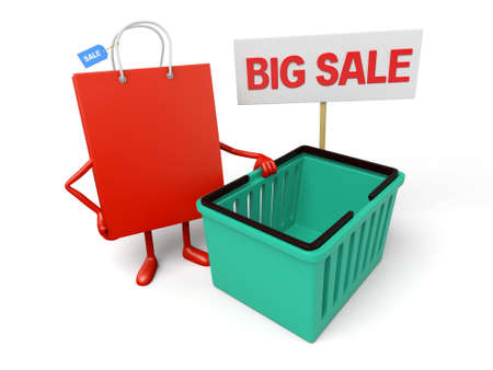 shopping sale: A red shopping bag is promoting the sale Stock Photo