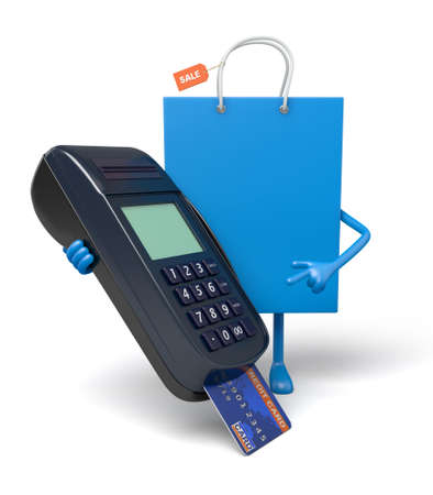 pos: A blue shopping bag and a POS Stock Photo