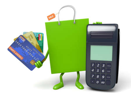 A green shopping bag with a POS and a few credit cards