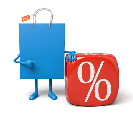 shopping bag: A blue shopping bag is promoting the sale Stock Photo