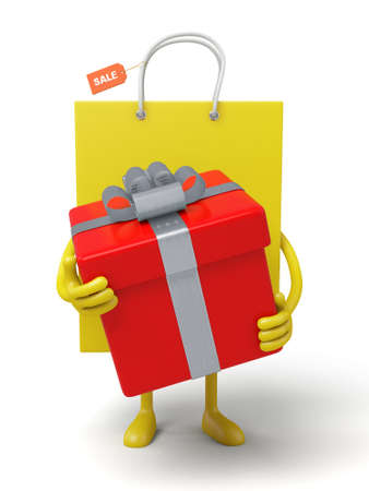 A yellow shopping bag and a big gift box Stock Photo - 48324817