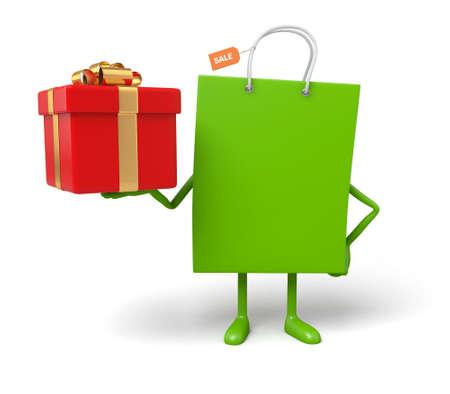 cartoon present: A green shopping bag with a gift box