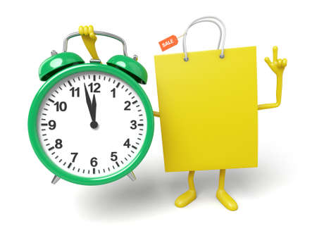 A yellow shopping bag and a clock