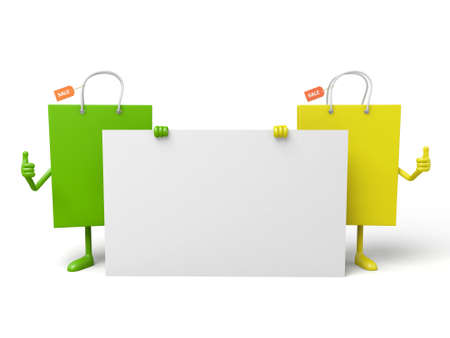 a placard: Two shopping bags with a white placard