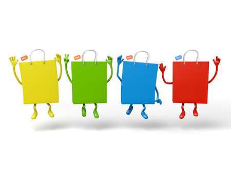 Four shopping bags pose together