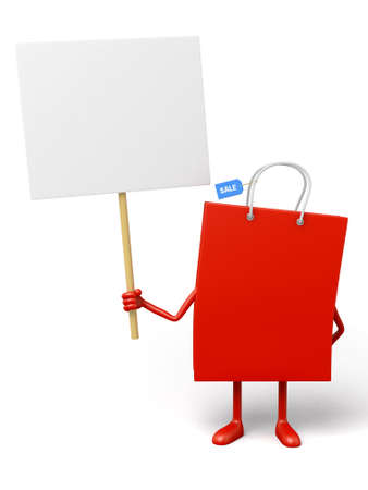A red shopping bag with a white placard