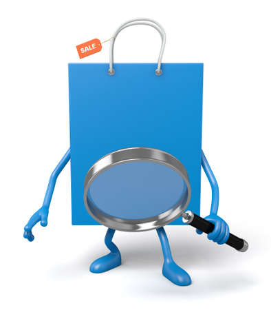 zoom: A blue shopping bags looking at things with a magnifying glass