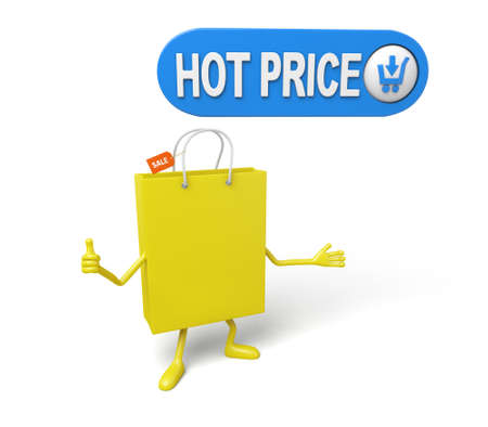 A yellow shopping bag is promoting the sale Stock Photo