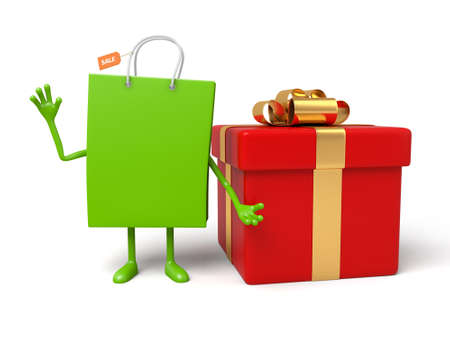A green shopping bag and a big gift box