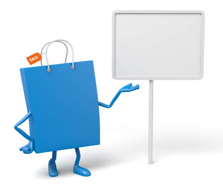 bulletins: A blue shopping bag with a white placard Stock Photo