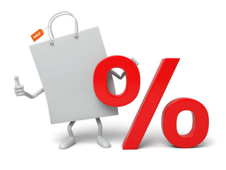 rebate: A white shopping bag and a percent sign Stock Photo