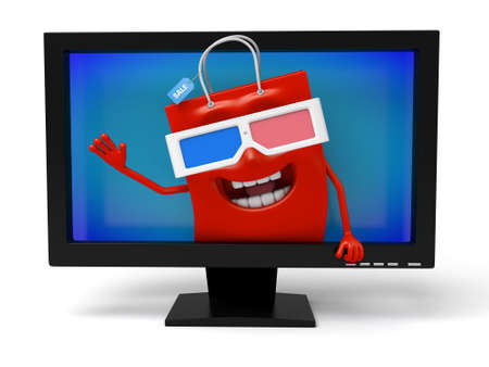 watching 3d: A red shopping bag is watching 3d film