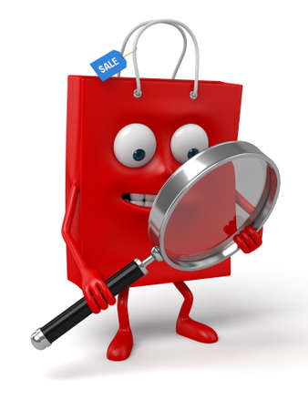 A red shopping bag is searching with a magnifier Stock Photo