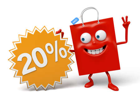 A red shopping bag is promoting the sale Фото со стока