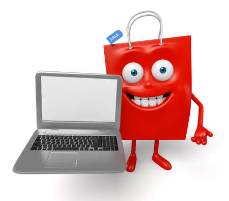 A red shopping bag with a notebook Stock Photo