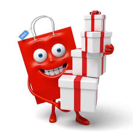 A red shopping bag with some gift boxes