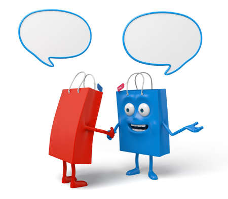 communicate concept: Two shopping bags are talking about something