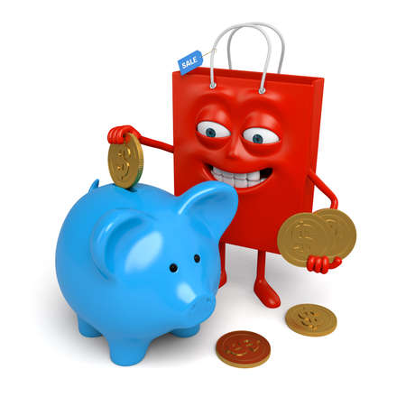 A red shopping bag with a piggy bank