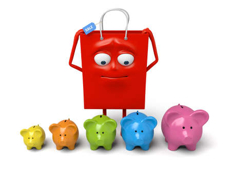 A red shopping bag with a few piggy banks Stock Photo